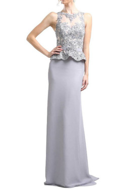 Sleek Silver Evening Gown