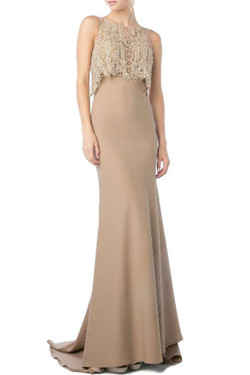 Fitted Beige Evening Dress