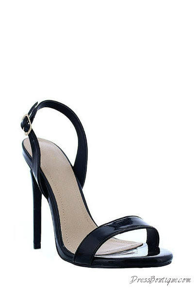 Black Open Toe Slingback Heels