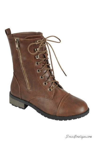 Brown Boho Combat Boots