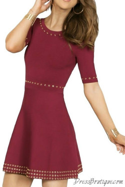 Accented Maroon Skater Dress