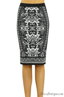 Black & White Bodycon Pencil Skirt