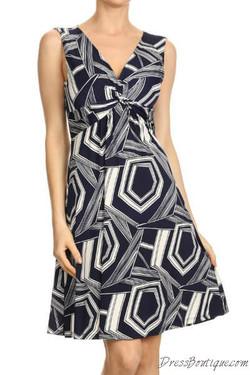 Navy Sleeveless Midi Dress