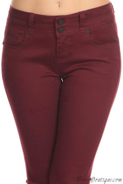 Burgundy Stretch Pants