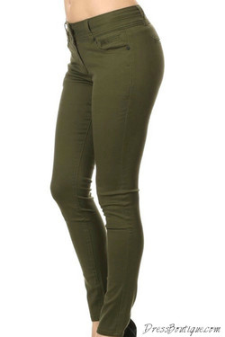 Olive Stretch Pants