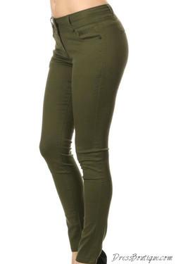 Olive Stretch Pants