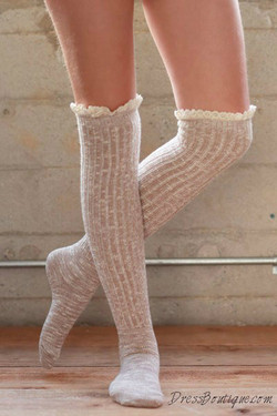 Beige Over the Knee Boot Socks
