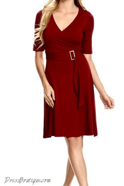 Maroon Midi Dress