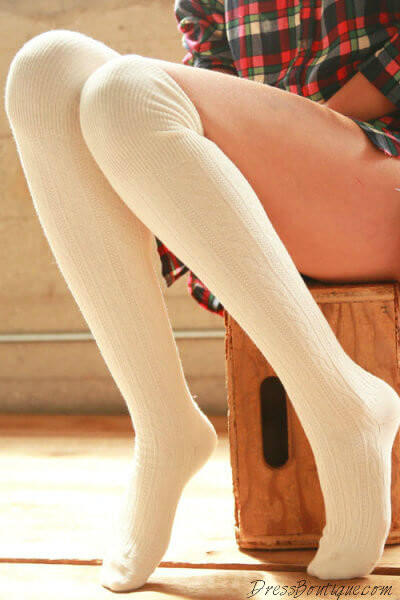 Oatmeal Cable Knit Over The Knee Socks