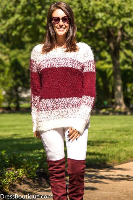Burgundy Soft Knit Striped Sweater