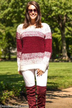 Burgundy Soft Knit Striped Sweater