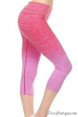 Pink Ombre Capri Workout Pants