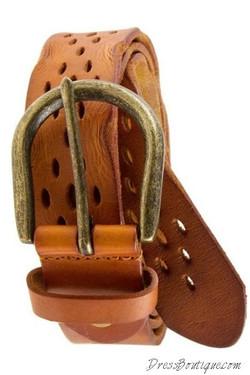 Camel Distressed Leather Belt