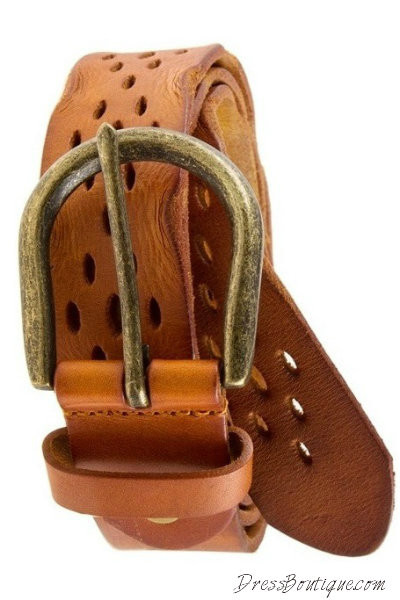 Camel Distressed Leather Belt