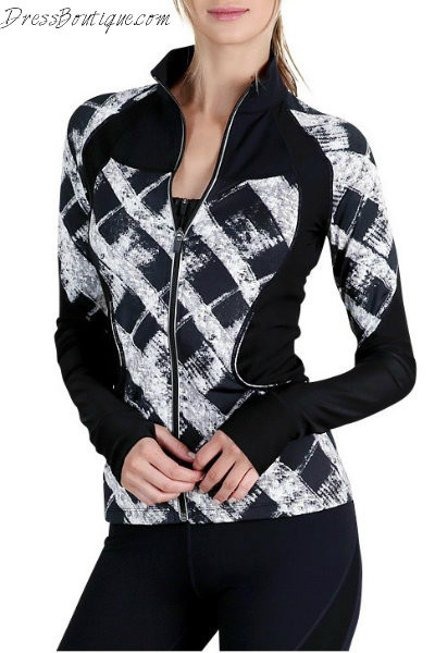 Geometric Print Fitted Workout Jacket
