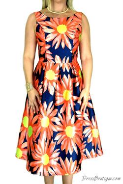 Navy Floral Print Dress