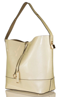 Elegant Ivory Patent Shoulder Bag