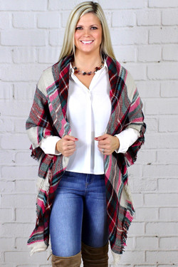 Fuchsia Square Plaid Blanket Scarf