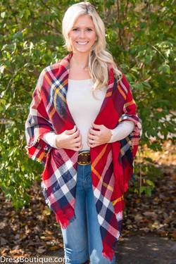 Red Plaid Blanket Scarf/Shawl