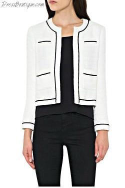 Cropped White Tweed Blazar