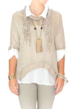 Beige Italian 3-1 Sweater, Blouse Set