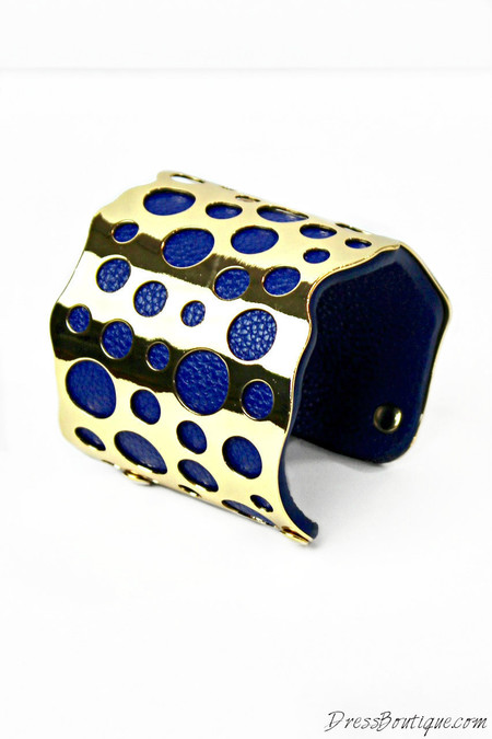Blue Leather & Gold Cuff