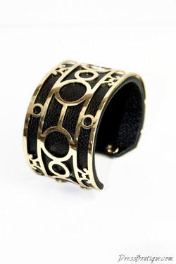 Gold Leather Cuff