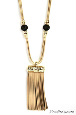 Tan Leather Fringe Necklace
