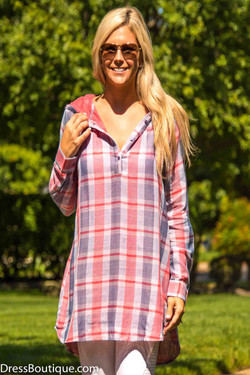 Hooded Plaid Shirt Dress