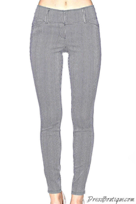 Navy Checkered Slim Fit Pants