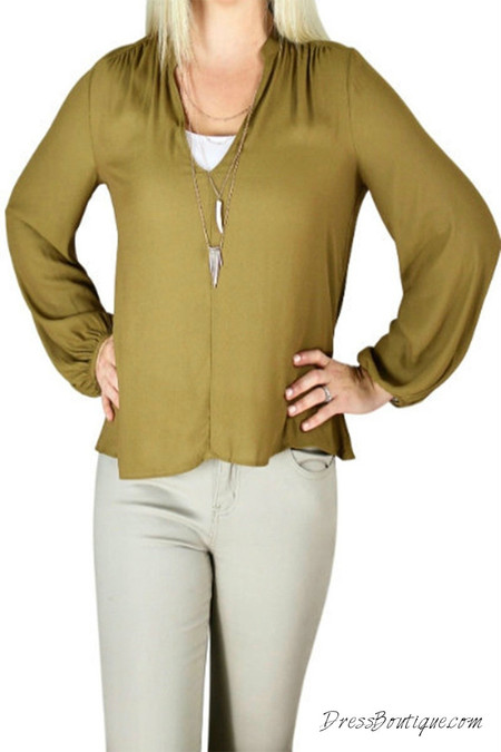 Olive Long Sleeve Blouse