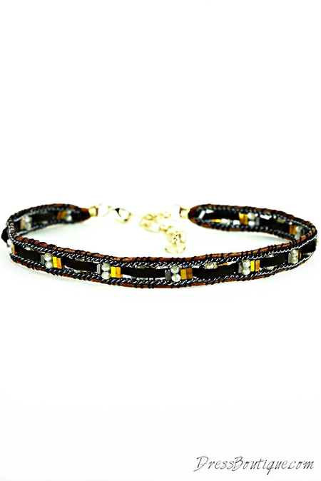 Brown Crystal Leather Choker