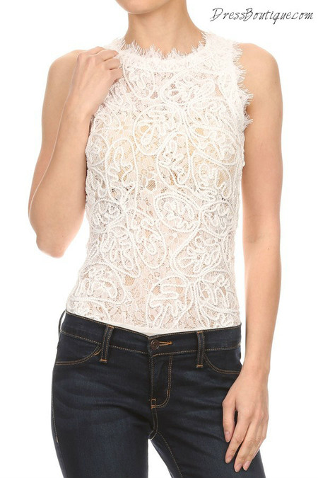 Chic White Lace Bodysuit