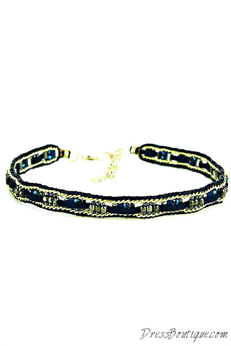 Blue Crystal Leather Choker