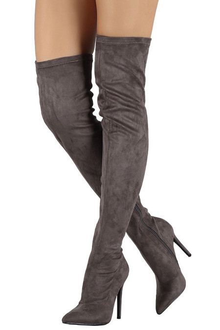 Grey Over The Knee Stiletto Boots