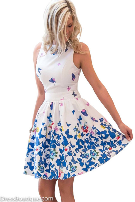 Blue Butterfly Floral Dress