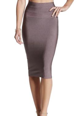Brown Metallic Bodycon Pencil Skirt