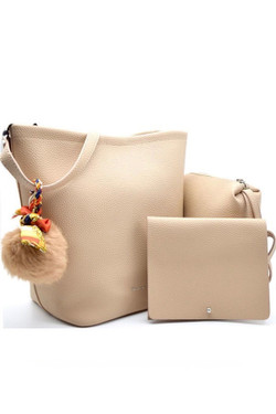 Beige 3 In 1 Leather Shoulder Bag