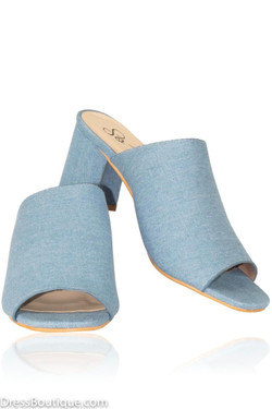 Blue Block Heel Sandals