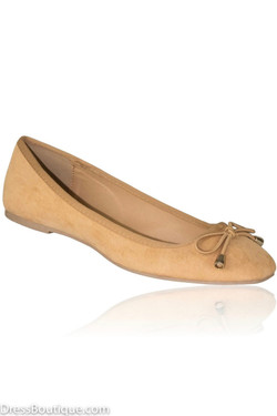 Camel Suede Ballerina Shoes