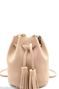 Beige Fringe Pouch Bag