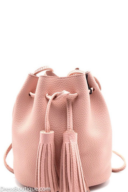 Blush Fringe Pouch Bag