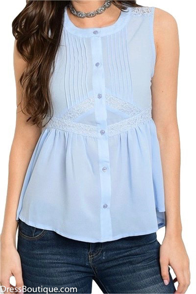 Baby Blue Lace Blouse