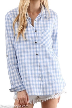 Light Blue Plaid Shirt