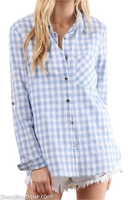 Light Blue Plaid Shirt