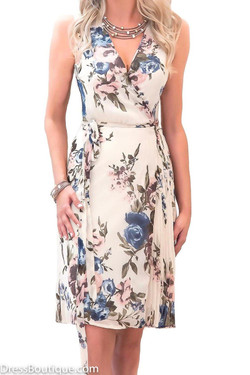 Cream Floral Wrap Dress