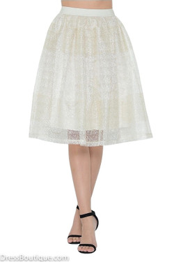 Ivory Lace Midi Skirt