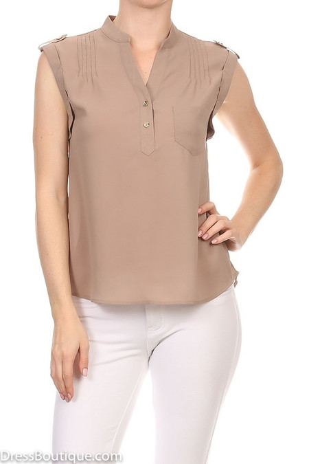 Taupe Sleeveless Blouse