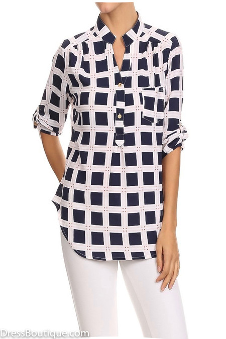 Navy Plaid Tunic Shirt