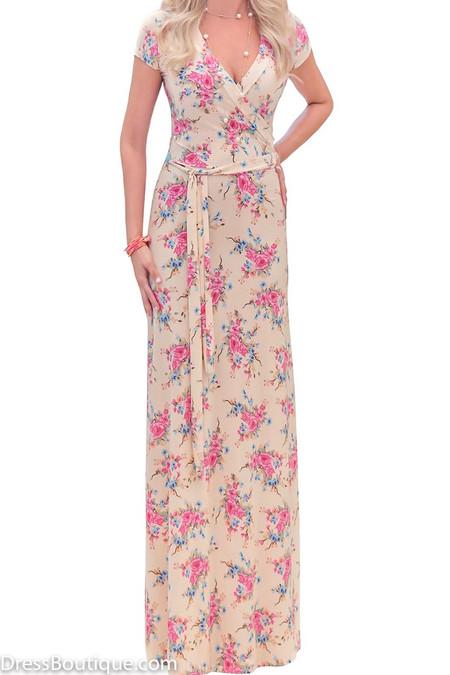 Cream Floral Maxi Dress